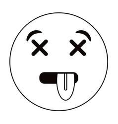 dead emoticon funny thin line vector image