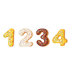 Donut icing numbers digits - 1 2 3 4 font of vector