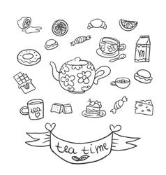 Doodle tea party vector