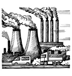 Ecology air and atmosphere pollution vector