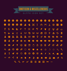 emoticon and miscellaneous glyph icon set vector image