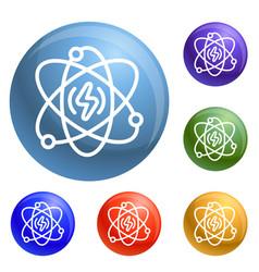 energy atom icons set vector image