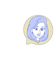 female head chat bubble profile icon woman avatar vector image