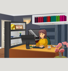 female programmer working at home vector image