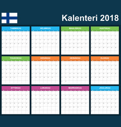 finnish planner blank for 2018 scheduler agenda vector image