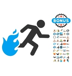 Fired Running Man Icon With 2017 Year Bonus vector image