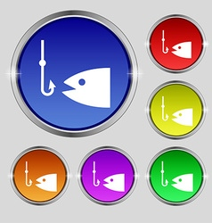 Fishing icon sign Round symbol on bright colourful vector