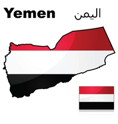 Flag and map of Yemen vector image vector image