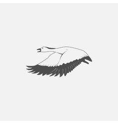 Flying goose in grayscale vector
