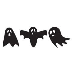 Ghost icon cute cartoon character halloween logo vector