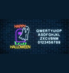 Glowing neon sign of halloween banner design with vector