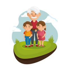 Grandpa and grandchildren icon vector