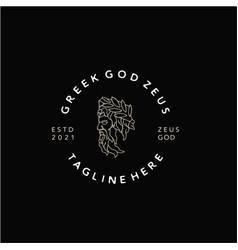 Greek god zeus line art logo ancient god vector