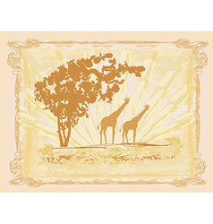 Grunge background with giraffe silhouette african vector