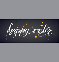 handwritten text happy easter with golden toys on vector image