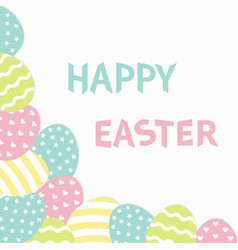 happy easter text painted egg corner frame vector image