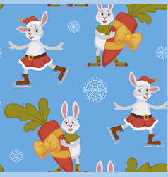 happy new year bunny decorating christmas tree vector image