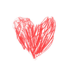 heart drawn in red pencil children drawing vector image