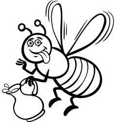 Honey bee cartoon for coloring book vector