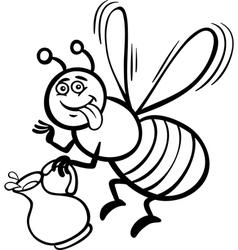 Honey bee cartoon for coloring book vector