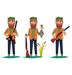 Hunter man cartoon character vector