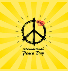 International peace day logo with hippie sign icon vector