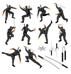 isometric ninja icons collection vector image