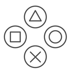 Joystick buttons thin line icon game console vector