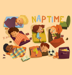 kindergarten nap time kid vector image