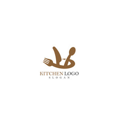 Kitchen element spoon fork knife icon vector