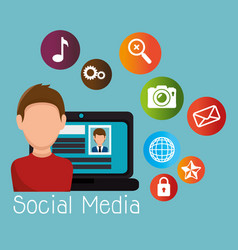 Laptop with user and social media icon vector