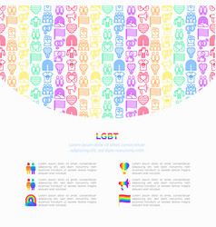 lgbt concept with thin line icons vector image