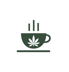 Logo of coffee shop leaf of cannabis on cup vector