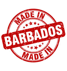 Made in barbados red grunge round stamp vector