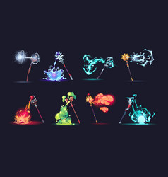 Magic stuff with effects cartoon wizard weapon vector