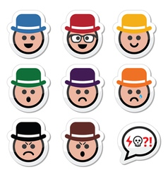 Man in hat faces icons set vector