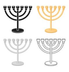 Menorah icon in cartoon style isolated on white vector