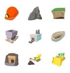 Mining activities icons set cartoon style vector image