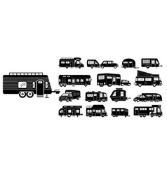 Motorhome icons set simple style vector