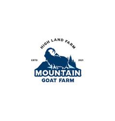 mountain goat farm logo vector image
