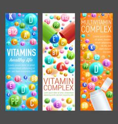Multivitamin health complex pills banners vector