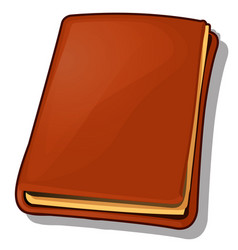 Old book with leather brown cover isolated on vector