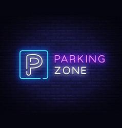 parking zone neon signboard parking neon vector image