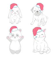 Pets face dog cat and rabbit vector