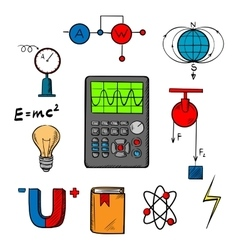 Physics science icons and objects vector