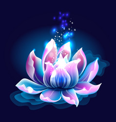 Pink lotus flower with light water lily vector