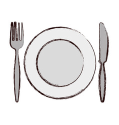 Plate with fork an knife vector