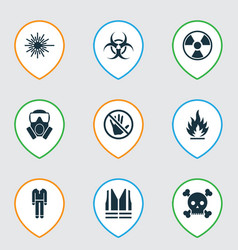 protection icons set with bio-hazard protective vector image
