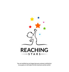 Reaching stars logo design template dream star vector