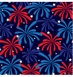 Red white blue fireworks and stars vector